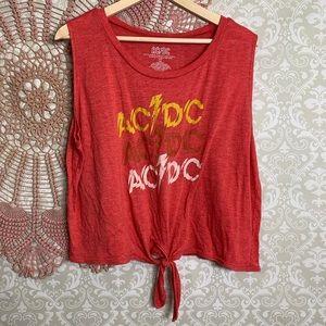5/$25 AC/DC Tie Front Tank Top